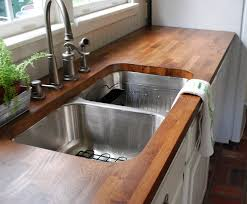 countertops stainless steel divided undermount sink butcher block