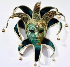 venetian jester mask venetian handmade blue and gold mask with points collar and bells
