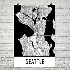 seattle map wall seattle poster seattle print seattle wall