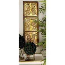 36 in x 12 in modern decorative tree cutout wood and iron wall