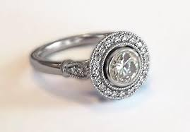 moissanite vintage engagement rings vintage halo style engagement ring in 14k white gold with diamonds