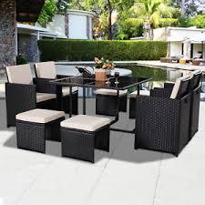 PCS Black Patio Garden Rattan Wicker Sofa Set Furniture - Wicker sofa sets