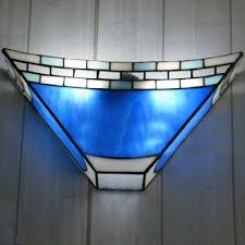 Stained Glass Wall Sconce Geometric Blue Stained Glass 8 Inch High Two Light Wall