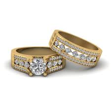 gold bridal set cut pave and kite set diamond bridal set in 14k yellow gold