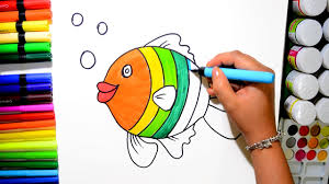 draw color rainbow fish coloring learn colors