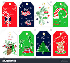 christmas gift tags labels christmas stickers stock vector