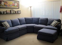 dark blue color u shaped couch with pillow for small living room