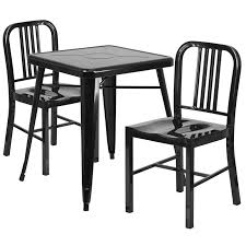 Black Metal Chairs Dining Metal Indoor Outdoor Table Set With 2 Vertical Slat Back Chairs