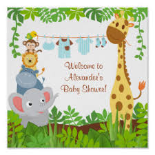 baby shower poster jungle baby shower party personalised posters prints zazzle co uk