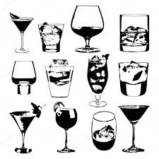 cocktails set vector glasses collection drinking whiskey party
