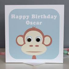 wobbly eyed monkey card by stripeycats notonthehighstreet