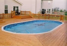 outdoor pool deck lighting above ground pools decks idea shaped above ground swimming