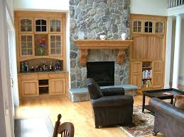 Living Room Wall Units With Fireplace Classy Wooden Cupboards In Living Room Decor With Natural Grey