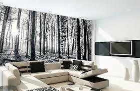 papier peint bureau décoration murale taille géante noir et blanc forêt papier peint
