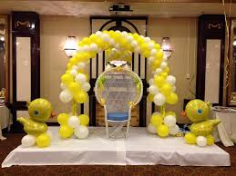 ducky balloon decoration for baby shower arch over chair