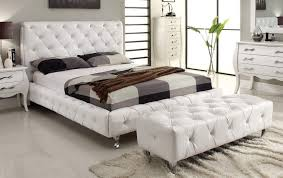 Platform Bed White Fashion Euro Complete Platform Bed With White Leather Tufted Bed