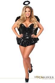 top drawer plus size premium sequin dark angel corset dress costume
