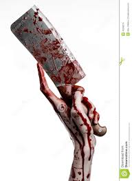 bloody halloween theme bloody hand holding a large bloody kitchen royalty free stock photo