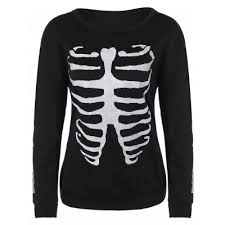 skeleton print halloween sweatshirt best deals online shopping