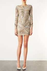 embellished dress lyst topshop embellished dress in metallic