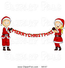 merry christmas banner pal clipart of a blond white christmas boy and girl holding a