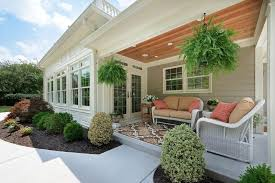 Hanging Plants For Patio Covered Porch Decorating Ideas Porch Traditional With Transom