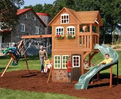 giant cedar playground play house slide wood swing set playset