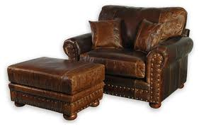 Oversized Accent Chair Western Style Leather Oversized Chair Southwestern Armchairs
