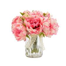 peonies bouquet one allium way bouquet of peonies in ribbed glass vase reviews