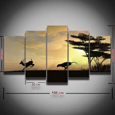 african print home decor printed picture wild deer leopard animal painting african sunset