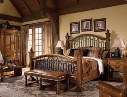 bed and side table set rustic pine bedroom furniture brown shade table l on wooden bed