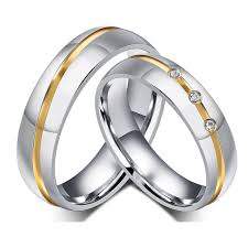 stainless steel wedding bands gold color custom alliance stainless steel wedding bands couples