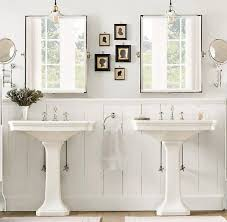 country style bathroom with pedestal sinks installing a pedestal