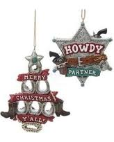 sales on set of 3 assorted western ornaments