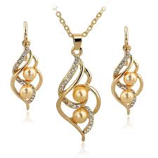 wedding gold set fashion simulated pearl jewelry set gold silver color