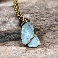 topaz stone necklace images Blue topaz necklace raw stone jewelry from mermaid tears jpg