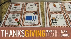 grade thanksgiving math task cards teach junkie