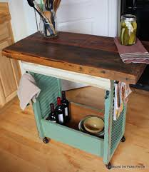 repurposed kitchen island beyond the picket fence shutter island