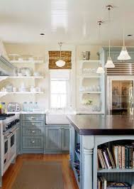 Coastal Cottage Kitchen - high gloss beadboard ceiling bamboo shades open shelves and a