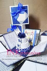 Box Wedding Invitations Exploding Box Wedding Invitation Blue And White Inkpressive