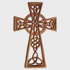 woven knot celtic cross with serch bythol wood carved cross