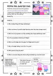 english worksheets peppa pig babysitting