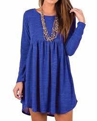 women u0027s royal blue casual long sleeve babydoll hem casual short