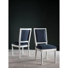 safavieh buchanan navy and cream linen dining chair set of 2