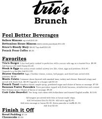 menu for brunch brunch menu trio s dining