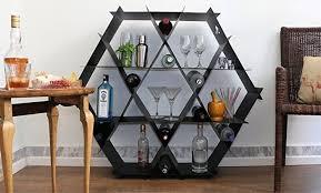 amazon com geometric home bar wine rack bookcase shelving unit