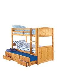 Pine Bunk Bed Kidspace Georgie Solid Pine Bunk Bed Frame With Storage And Guest