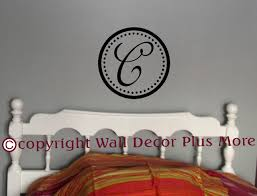 cursive monogram personalized letter in dotted circle custom wall wall art custom decals cursive monogram personalized letter 12x12 loading zoom