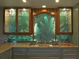kitchen glass art green kitchen backsplash shiny kitchen