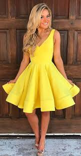 yellow dress homecoming dresses v neck homecoming dresses yellow